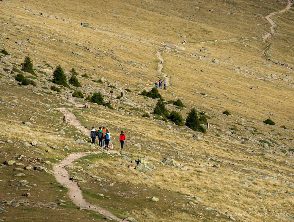 Hiking across the Resciesa Plateau above Ortisei in the Dolomite Mountains, Italy.