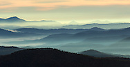 Panoramic view of Blue Ridge Mountains from Blue Ridge Parkway, North Carolina