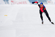 Aleksandra Kapruziak (KS Pilica Tomaszow Mazowiecki) from Poland competes during Polish Championships at Sprint Speed Skating competition on Stagny Ice Track in Warsaw, Poland on January 29, 2014.<br /> <br /> Poland, Warsaw, January 29, 2014.<br /> <br /> Picture also available in RAW (NEF) or TIFF format on special request.<br /> <br /> For editorial use only. Any commercial or promotional use requires permission.<br /> <br /> Mandatory credit:<br /> Photo by &copy; Adam Nurkiewicz / Mediasport