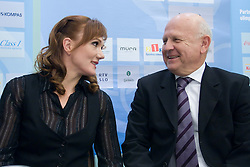 Petra Majdic and Janez Kocijancic of OKS at press conference when she has signed a contract with IOC and OKS for 16 months long sponsorship (1500 $ monthly) till Olympic games in Vancouver 2010, on December 22, 2008, Grand hotel Union, Ljubljana, Slovenia. (Photo by Vid Ponikvar / SportIda).