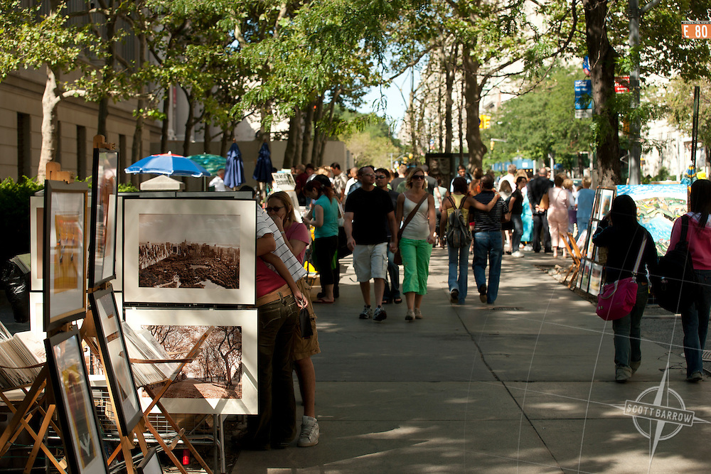 Artists selling on Fifth Avenue near Metropolitan Museum of Art, NYC.
