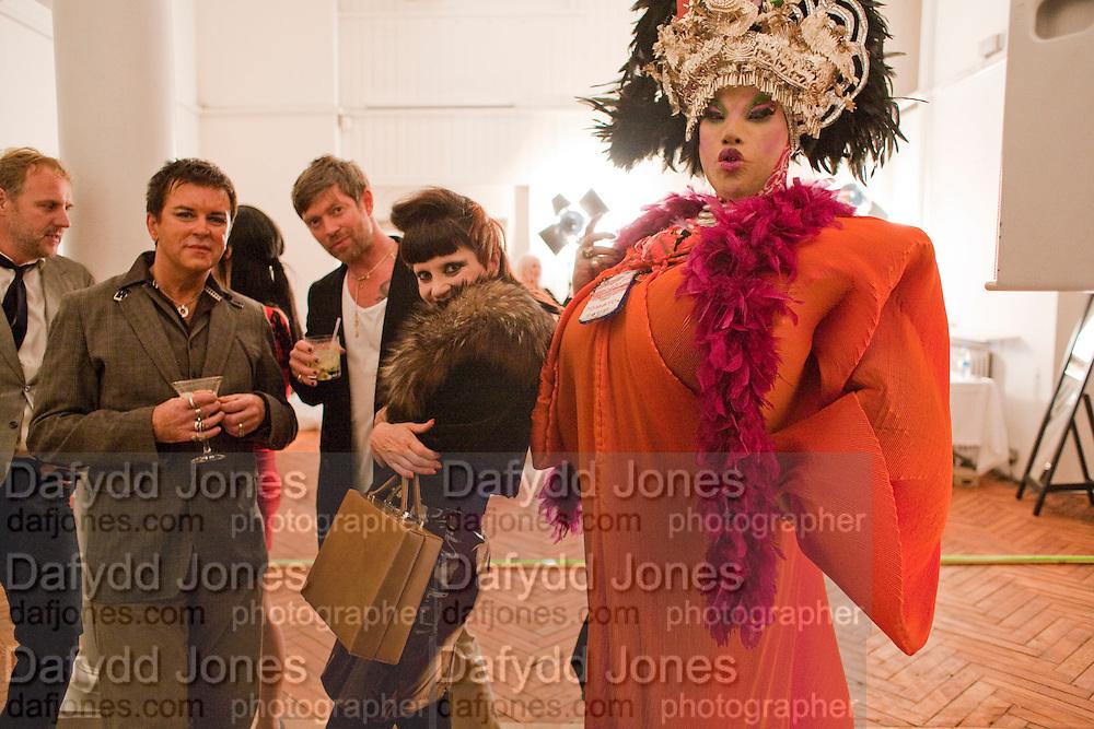 SIMON MILLS; STEVE STRANGE; MISS JULIA; DANIEL LISMORE, 30 Years Of i-D - book launch. Q Book 5-8 Lower John Street, London . 4 November 2010. -DO NOT ARCHIVE-© Copyright Photograph by Dafydd Jones. 248 Clapham Rd. London SW9 0PZ. Tel 0207 820 0771. www.dafjones.com.