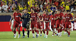 SOUTH BEND, INDIANA, USA - Friday, July 19, 2019: Liverpool's Joel Matip, goalkeeper Simon Mignolet and goalkeeper Andy Lonergan after a friendly match between Liverpool FC and Borussia Dortmund at the Notre Dame Stadium on day four of the club's pre-season tour of America. Dortmund won 3-2. (Pic by David Rawcliffe/Propaganda)