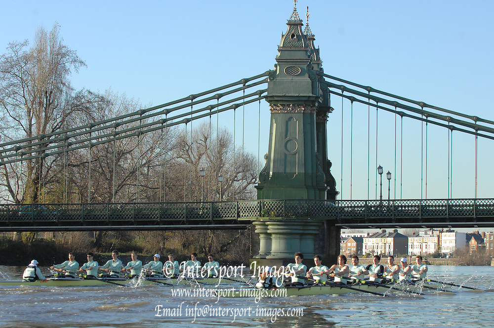 "Putney, Great Britain,  right,  CUBC crew, One Night Stand.  Bow, Alastair MACLEOD, 2. Shane O""MARA, 3. John HEDER, 4. Ryan MONAGHAN, 5. Dan SHAUGHNESSY,,6 Tom RANSLEY, 7. Tom EDWARDS   Stroke Dave Billings, Cox, Rebecca DOWBIGGIN. approach Hammersmith Bridge, during the 2007 Cambridge University Trial Eights, [One Night Stand vs True love] raced from Putney to Mortlake  11/12/2007 [Mandatory Credit Peter Spurrier/Intersport Images]. , Rowing Course: River Thames, Championship course, Putney to Mortlake 4.25 Miles, , Varsity Boat Race."