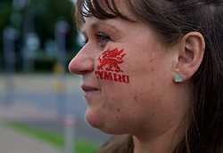 CARDIFF, WALES - Thursday, September 6, 2018: A women wears Wales facepaint ahead of the UEFA Nations League Group Stage League B Group 4 match between Wales and Republic of Ireland at the Cardiff City Stadium. (Pic by Laura Malkin/Propaganda)