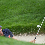 August 22, 2014:  Adam Scott (AUS) hits out of a sand trap on the 4th hole during the second round of The Barclays Fed Ex  Championship at Ridgewood Country Club in Paramus, NJ. Mandatory Credit:  Kostas Lymperopoulos/csm  (Credit Image: © Kostas Lymperopoulos/Cal Sport Media)