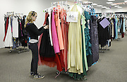 High school senior Autumn Sauer picks out a dress for her prom. The Sisterhood of the Traveling Dresses Project is hosted by the Ohio University WPA and a group of local women to provide prom and graduation dresses to Athens County high school girls in need.