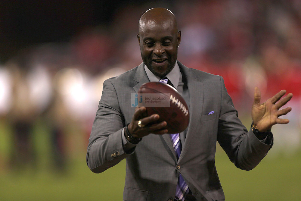 Former San Francisco 49ers player Jerry Rice looks on against the Chicago Bears, during an NFL game on Monday Nov. 19, 2012 in San Francisco, CA.  (photo by Jed Jacobsohn)