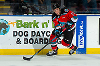 KELOWNA, BC - DECEMBER 18:  Ethan Ernst #19 of the Kelowna Rockets skates with the puck against the Vancouver Giants at Prospera Place on December 18, 2019 in Kelowna, Canada. (Photo by Marissa Baecker/Shoot the Breeze)