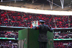 PLACING THE CARABAO CUP IN POSITION Arsenal v Manchester City Carabao League Cup Final, Wembley Stadium, Sunday 25th February 2018, Score Arsenal 0- Man City 3.