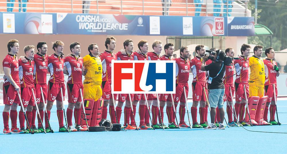 BHUBANESWAR - The Odisha Men's Hockey World League Final . Match ID 03. Argentina v Belgium. line up Belgium . WORLDSPORTPICS COPYRIGHT  KOEN SUYK