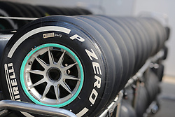 23.07.2015, Hungaroring, Budapest, HUN, FIA, Formel 1, Grand Prix von Ungarn, Vorberichte, im Bild Pirelli Reifen auf einem Wagen in einer Reihe // during the preperation of the Hungarian Formula One Grand Prix at the Hungaroring in Budapest, Hungary on 2015/07/23. EXPA Pictures &copy; 2015, PhotoCredit: EXPA/ Eibner-Pressefoto/ Bermel<br /> <br /> *****ATTENTION - OUT of GER*****