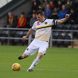 Andy Dowie sends a shot in  during the Dumbarton v St Mirren Scottish Championship 14 October 2017<br /> <br /> <br /> <br /> <br /> <br /> (c) Andy Scott | SportPix.org.uk