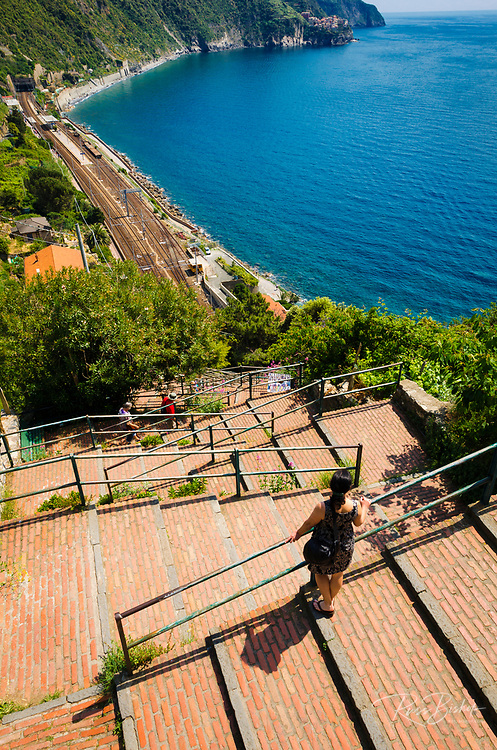 Staircase leading to Corniglia train station, Cinque Terre, Liguria, Italy