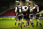 GOAL! Mahlon Romeo of Millwall FC celebrates after making it 2-0 during the Sky Bet League 1 match between Walsall and Millwall at the Banks's Stadium, Walsall, England on 6 February 2016. Photo by Mike Sheridan.