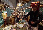 India, Rajasthan. Maharajas' Express luxury train. Mayur Mahal (Peacock Palace) dining car.