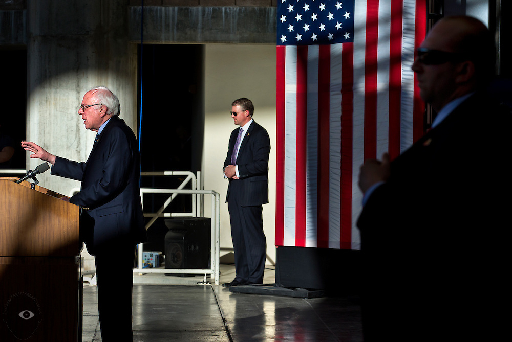 Democratic presidential candidate Bernie Sanders speaks during a caucus watch party and rally at the Henderson Pavilion as the Nevada results come in on Saturday, February 20, 2016.  L.E. Baskow