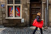 """Peinture murale Guignol, rue du Boeuf dans le quartier du vieux Lyon // Wall painting of """"Guignol"""" on rue du boeuf street in old town of Lyon"""