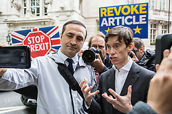 London, UK. 19 June, 2019. Conservative party leadership candidate is interviewed by a Turkish national in Westminster on the morning of the third ballot for the Conservative Party leadership. The candidate with the lowest number of votes will be eliminated.