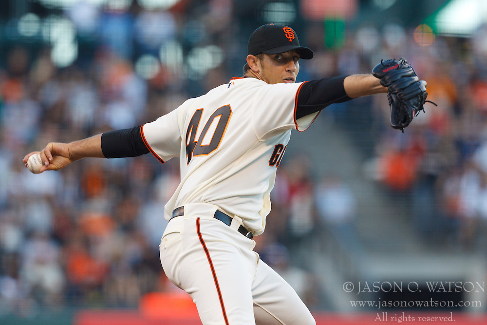 June 21, 2011; San Francisco, CA, USA;  San Francisco Giants starting pitcher Madison Bumgarner (40) pitches against the Minnesota Twins during the first inning at AT&T Park.