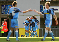 Photo: Frances Leader.<br />Wycombe Wanderers v Chester City. Coca Cola League 2.<br />01/10/2005.<br /><br />Wycombe's Tommy Mooney celebrates the third goal against Chester.
