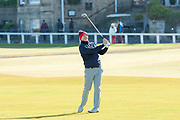 Stephen Gallacher plays his second shot on the 1st fairway, of the third round, during the Alfred Dunhill Links Championships 2018 at St Andrews, West Sands, Scotland on 6 October 2018.