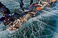 Mongolia.Khuvsgul province. Ice festival on the frozen Khovsgul lake. - siberia border - for the mongol new year , tsagaan sar, in the cold winter   /  Festival des glaces sur le lac gelé de Khovsgol - frontiere siberienne-  pour Tsagan sar; le nouvel an mongol, en hiver dans le froid   Khovgul  - Mongolie