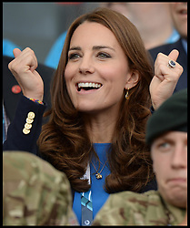 Image licensed to i-Images Picture Agency. 29/07/2014. Glasgow, United Kingdom. The Duke and Duchess of Cambridge and Prince Harry watch the Athletics, Hampden Park, Glasgow on day six of the Commonwealth Games.  Picture by Andrew Parsons / i-Images