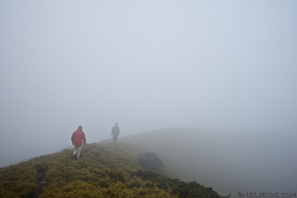 Hiking along the spine of Taiwan in a heavy mist on the NengGao Mountains.