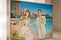 Hawaii-themed wedding illustration. Art by Hayataro Sakitsu.