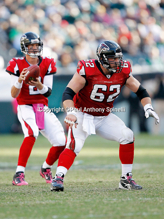 Atlanta Falcons center Todd McClure (62) pass blocks during the NFL week 6 football game against the Philadelphia Eagles on Sunday, October 17, 2010 in Philadelphia, Pennsylvania. The Eagles won the game 31-17. (©Paul Anthony Spinelli)