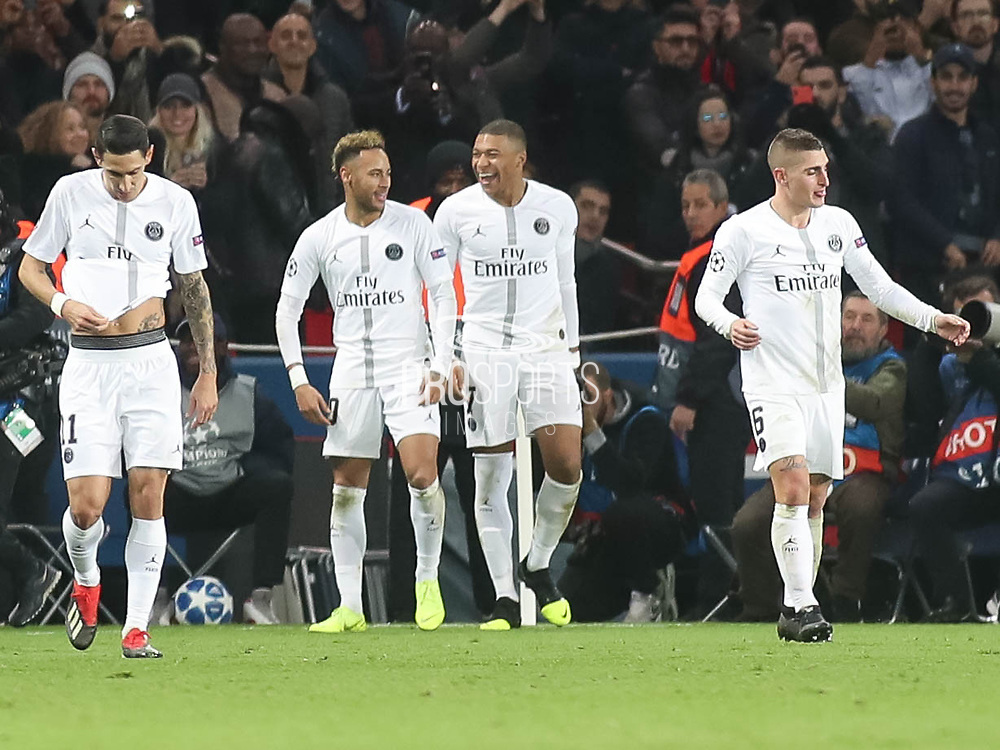 Kylian Mbappe  and Neymar of Paris Saint-Germain during the Champions League group stage match between Paris Saint-Germain and Liverpool at Parc des Princes, Paris, France on 28 November 2018.