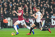 West Ham United Defender Declan Rice (41) and Fulham Defender Calum Chambers (5) in action during the Premier League match between West Ham United and Fulham at the London Stadium, London, England on 22 February 2019.