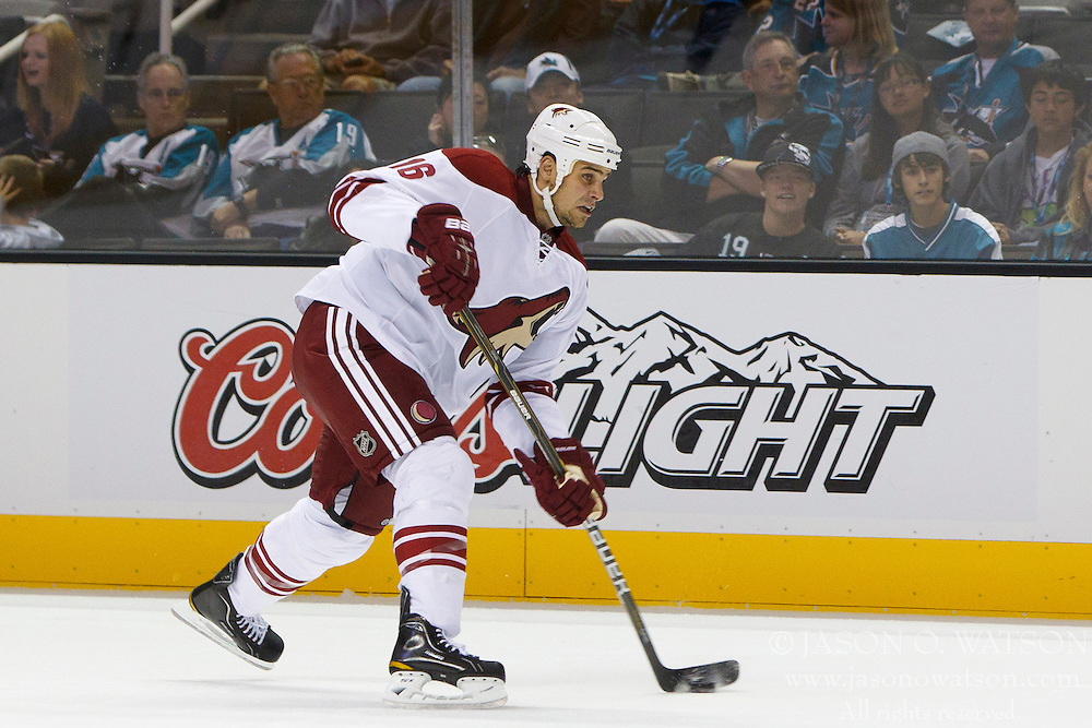 Sep 24, 2011; San Jose, CA, USA; Phoenix Coyotes defenseman Rostislav Klesla (16) shoots the puck against the San Jose Sharks during the first period at HP Pavilion.  San Jose defeated Phoenix 1-0. Mandatory Credit: Jason O. Watson / US PRESSWIRE