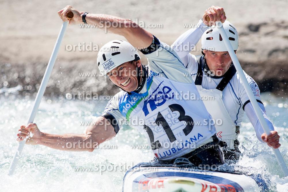David Florence and Richard Hounslow of Great Britan during Canoe (C2) Man final race at ICF Canoe Slalom World Cup Sloka 2013, on August 18, 2013, in Tacen, Ljubljana, Slovenia. (Photo by Urban Urbanc / Sportida.com)