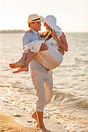 Bride, Groom, Beach, Love, Sunset, Happiness