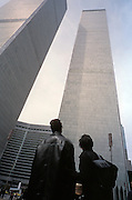 Tourist looking up at World Trade Center