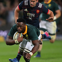 Siya Kolisi of South Africa over for a try during the 2nd Castle Lager Incoming Series Test match between South Africa and France at Growthpoint Kings Park on June 17, 2017 in Durban, South Africa. (Photo by Steve Haag Sports)