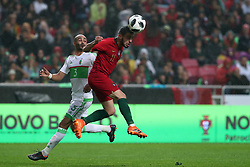 June 7, 2018 - Lisbon, Portugal - Portugal's forward Bernardo Silva (R ) vies with AlgeriaÂ«s defender Mokhtar Benmoussa during the FIFA World Cup Russia 2018 preparation football match Portugal vs Algeria, at the Luz stadium in Lisbon, Portugal, on June 7, 2018. (Credit Image: © Pedro Fiuza via ZUMA Wire)