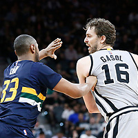 02 April 2017: Utah Jazz center Boris Diaw (33) defends on San Antonio Spurs center Pau Gasol (16) during the San Antonio Spurs 109-103 victory over the Utah Jazz, at the AT&T Center, San Antonio, Texas, USA.