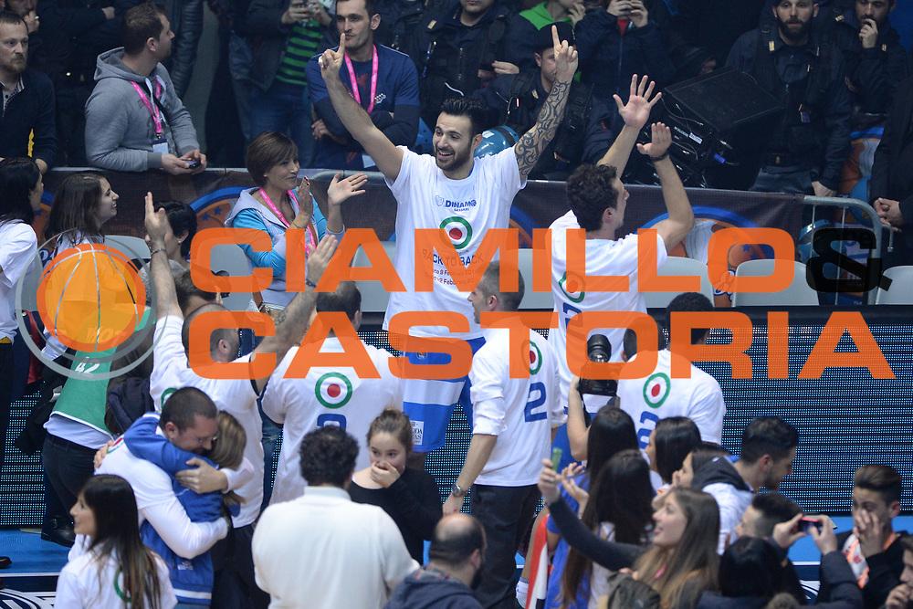 DESCRIZIONE : Final Eight Coppa Italia 2015 Finale Olimpia EA7 Emporio Armani Milano - Dinamo Banco di Sardegna Sassari <br /> GIOCATORE : Brian Sacchetti<br /> CATEGORIA : Esultanza<br /> SQUADRA : Banco di Sardegna Sassari<br /> EVENTO : Final Eight Coppa Italia 2015 <br /> GARA : Olimpia EA7 Emporio Armani Milano - Dinamo Banco di Sardegna Sassari <br /> DATA : 22/02/2015 <br /> SPORT : Pallacanestro <br /> AUTORE : Agenzia Ciamillo-Castoria/M.Longo
