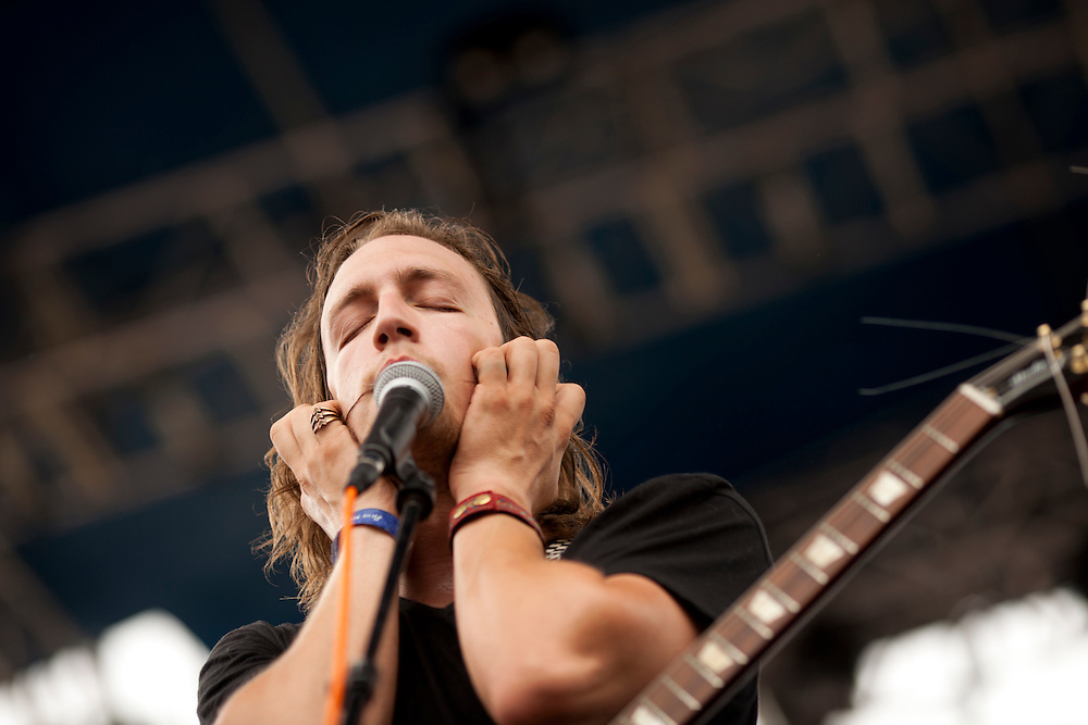 Joe Fulton from Lexington, Kentucky's Full Body Tones performs at the NewBo Music Fest in downtown Cedar Rapids on Saturday, August 8, 2015. Festival organizers estimated that 2,900 tickets to the first-time festival were sold by opening day. (Rebecca F. Miller/Freelance for the Gazette)