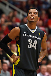 Feb 19, 2012; Stanford CA, USA; Oregon Ducks guard Devoe Joseph (34) before a free throw against the Stanford Cardinal during the first half at Maples Pavilion. Oregon defeated Stanford 68-64. Mandatory Credit: Jason O. Watson-US PRESSWIRE
