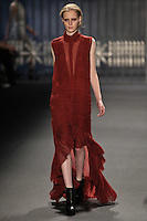 Julia Nobis walks the runway wearing Vera Wang Fall 2011 Collection during Mercedes-Benz Fashion Week in New York on February 15, 2011