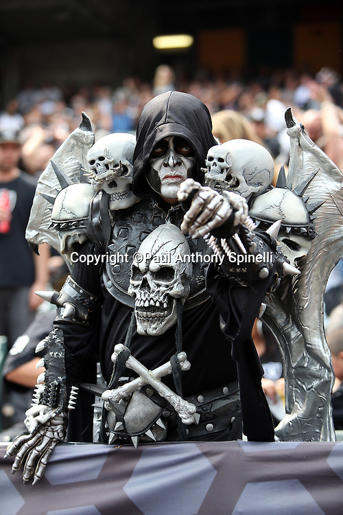 An Oakland Raiders fan with a painted face and costume points ominously during the 2015 NFL week 1 regular season football game against the Cincinnati Bengals on Sunday, Sept. 13, 2015 in Oakland, Calif. The Bengals won the game 33-13. (©Paul Anthony Spinelli)