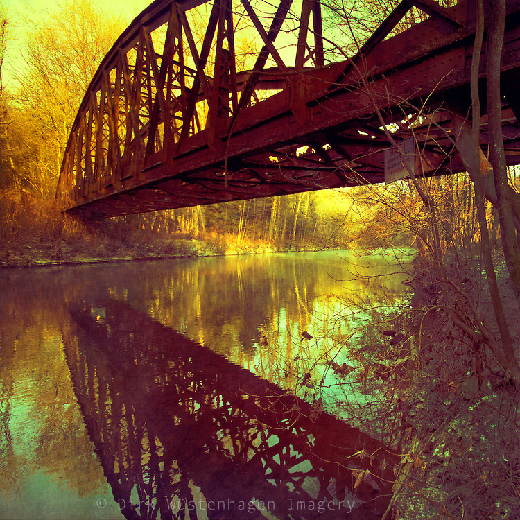 Abandoned bridge of river Wupper, Germany. Texturized photograph.<br /> <br /> S6 Prints: http://society6.com/DirkWuestenhagenImagery/dream-bridge_Print<br /> <br /> artflakes Drucke: http://www.artflakes.com/de/products/dream-bridge