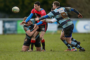 AIL Division 2c Rugby at Old Balreask, Navan 20th February 2016.<br /> Nacan RC vs Tullamore RC<br /> Ray Moloney / Conor Hand / Bryan McKeever (Navan RC) & Jordan Conroy (Tullamore RC)<br /> Photo: David Mullen /www.cyberimages.net / 2016