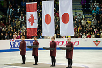 KELOWNA, BC - OCTOBER 26:  Mens flags rise during medal ceremonies of Skate Canada International held at Prospera Place on October 26, 2019 in Kelowna, Canada. (Photo by Marissa Baecker/Shoot the Breeze)