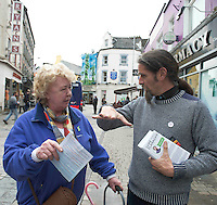 19/05/2014 Maureen Diskin from Athlone who had her water sorted out  by  Luke Ming Flannagan met him streets in Galway . Photo:Andrew Downes