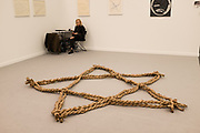 "New York, NY - May 3, 2019. Kazuko Miyamoto's brown paper ""Star Piece, 9th Precinct"" at Zürcher Gallery at the Frieze Art Fair on New York City's Randalls Island."